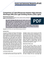 Comparison of Light Efficiencies between High Intensity Discharge (HID) and Light Emitting Diodes (LED) Lights