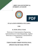 B.Tech. 4th Year EI CBCS 2019-20