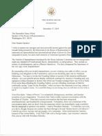 Letter From President Trump to Speaker Nancy Pelosi on Impeachment