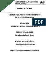 Liderazgo Del Profesor_objetivo Básico de La Gestión Educativa_reflexion Critica