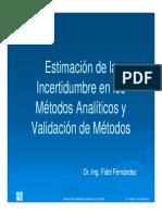 Estimación de la Incertidumbre en los Métodos Analíticos y Valoración de Métodos (Fernández, F.).pdf