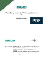 Suzlon Energy Call Transcript