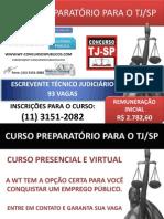 Concurso TJ/SP 2011 - 93 Vagas para Escrevente Técnico Judiciário