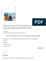 Previous Years GATE Questions on Engineering Materials 2002-2011 - Engineering Tutorials