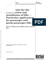 BS en 81-73 Safety Rules for the Construction and Installation of Lifts Part 73 Behaviour of Lifts in the Event of a Fire