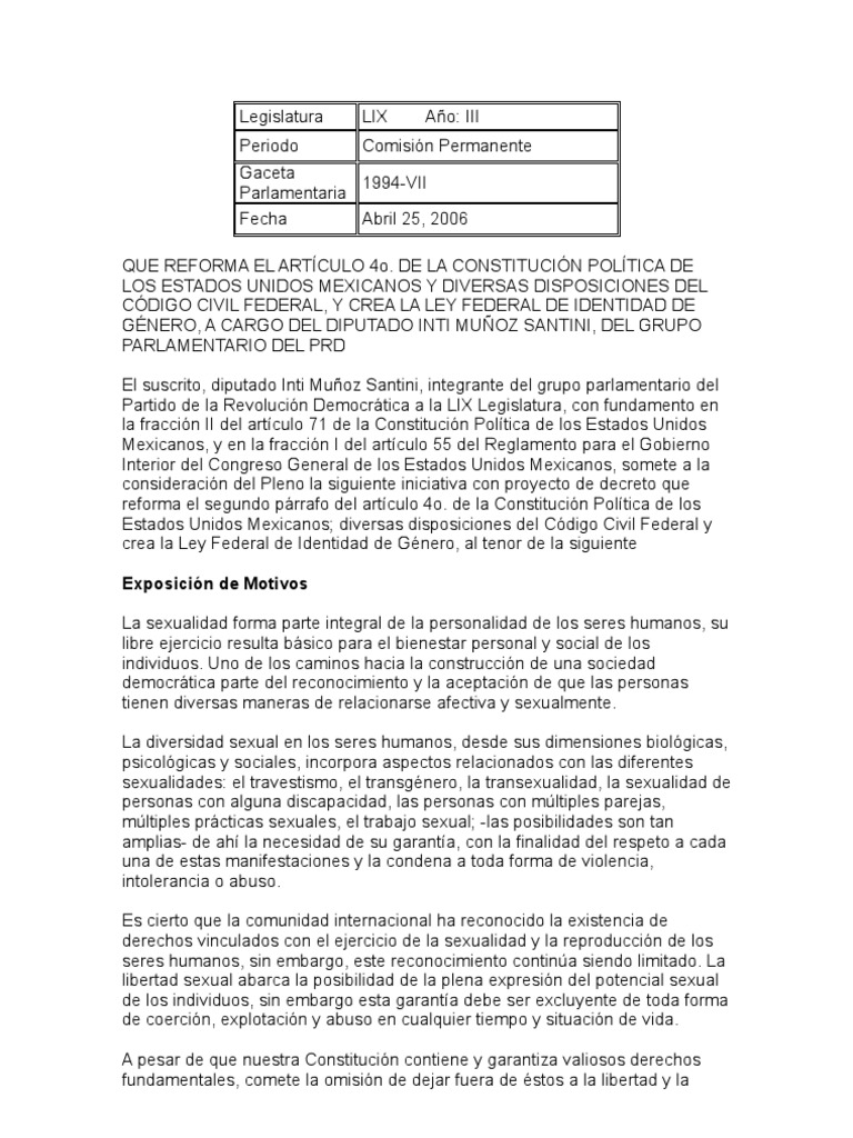 INICIATIVA FEDERAL DE LEY DE IDENTIDAD DE GENERO POR INTI MUÑOZ SANTINI