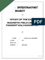 Physics Investigatory Project XII Tangent Galvanometer