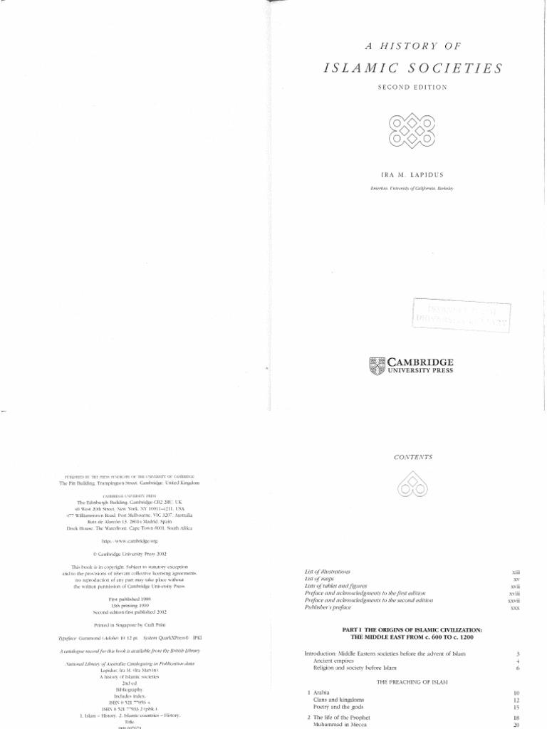 Ira M Lapidus A History Of Islamic Societies Cambridge University Press 2002 Pdf