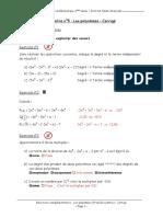 Exercices Complementaires - Chapitreno5 - Les Polynomes- Premiere Partie - Corrige