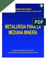 METALURGIA PARA LA MEDIANA MINERÍA (Jorge Menacho, De Re Metallica)