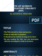 Parts of Science Investigatory Project (SIP)