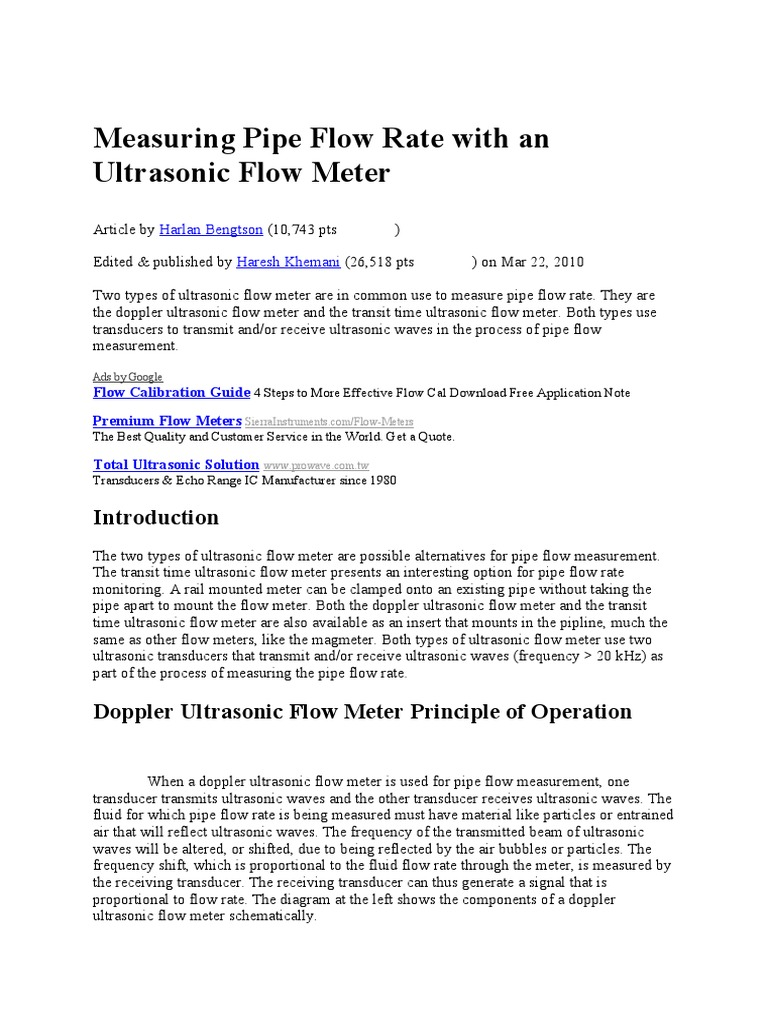 Measuring Pipe Flow Rate With an Ultrasonic Flow Meter