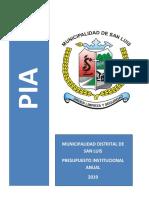 MUNICIPALIDAD DISTRITAL DE SAN LUIS PIA 2019