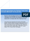 """Quick Heal Technologies wins """"Business Today's Best Innovation SME Award"""" for the year 2010"""