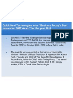 "Quick Heal Technologies wins ""Business Today's Best Innovation SME Award"" for the year 2010"