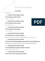 Question of Business Statistics