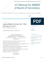 Leave Rules Circular No. 1541-Edn (S) _21-2_77 – Headmasters' Manual for WBBSE West Bengal Board of Secondary Education