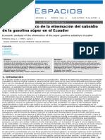 Análisis económico de la eliminación del subsidio de la gasolina súper en el Ecuador