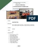 Informe Triaxial Geotecnia VIII-ENSAYO TRIAXIAL  NO CONSOLIDADO NO DRENADO