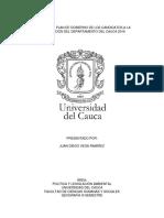 Análisis Del Plan de Gobierno de Los Candidatos a La Gobernación Del Departamento Del Cauca 2019