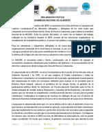 Declaración Política Asamblea ANZORC