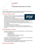 Central Educational Institutions Reservation in Teachers Cadre Bill