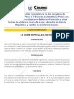 Acuerdo 5-2016 competencia de los juzgados de primera instancia penal y tribunales de sentencia penal con competencia especializada en delitos de femicidio y otrs domas de violencia