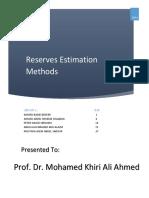 Reserves Estimation Methods