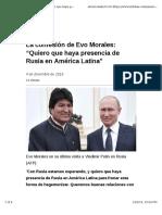 """La Confesión de Evo Morales - """"Quiero Que Haya Presencia de Rusia en América Latina"""""""