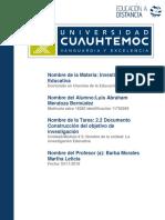 Luis Abraham Mendoza Bermúdez_Actividad 2.2 DOCUMENTO Construcción objetivo de investigación