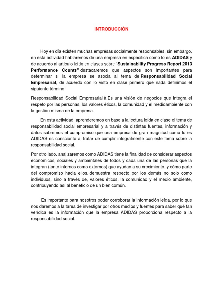 compañerismo Hacia arriba Desde allí  ADIDAS.docx | Responsabilidad social corporativa | Economias