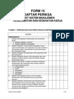 Form 15 Daftar Periksa Audit SMK3 Terbaru