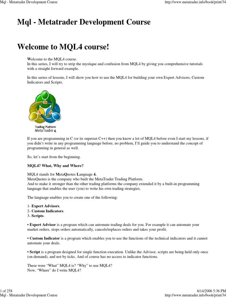 Mql 4- Met a Trader 4 Development Course | Control Flow | Boolean Data Type