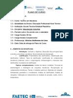 Plano de Curso_Pronatec_manutencao industrial_Ensino Técnico
