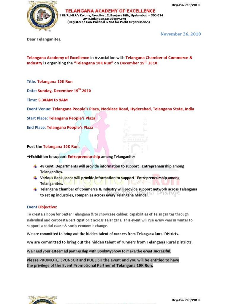 Invitation Letter To Telanganites To Participate In Telangana 10k