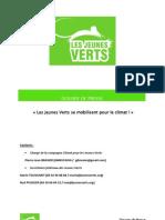 Dossier de Presse - Les Jeunes Verts Se Mobilisent Pour Le Climat