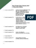 Nómina de Alumnos Premio Pedro Palacios 2019 Escuelas Públicas