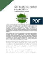 Interpretação de artigo de opinião -  Tema  sustentabilidade