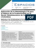 Aplicacion de metodologia 5 S, en sector Metal mecanico