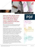 Keep your data safe by moving from unsupported SQL Server 2008 to SQL Server 2019 on Lenovo ThinkSystem SR630 servers, powered by Intel Xeon Scalable processors