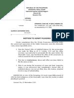 Josephine Lee - Motion to Admit Pleading