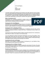 Lesson 1 Orientation, Trad and Con Arts, Form Content Context