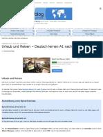 Urlaub Und Reisen - Deutsch Lernen A2