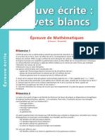 Épreuve Brevet blanc Mathématiques