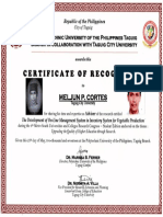 MELJUN CORTES TCU 2017 Certificate of Recognition 4th Metro South Thesis Adviser May 2017