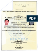 MELJUN CORTES TCU 2018 Certificate of Recognition 6th Metro South RESEARCH Predictive MODEL