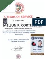 MELJUN CORTES TCU 2019 Certificate Recognition SERVICE AWARD 5 Years