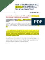 SE PUDE UTILIZAR LA COLUMNA DE 90°C DE LA TABLA 310-15 (b) (16)