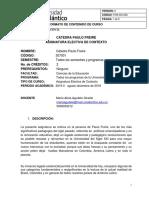 Carta Descriptiva Cátedra Paulo Freire 2018- II Pbro. Juan Diego Estrada Naranjo