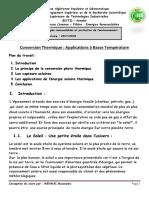 Conversion Thermique -Applications à Basse Température